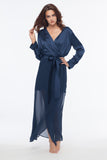 Naomi Navy Sheer Maxi Silk Robe