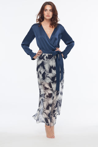 Naomi Palm Sheer Maxi Silk Robe
