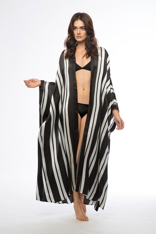 Sheba Black & White Long Silk Robe