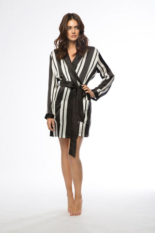 Sloane Black & White Stripe Silk Sort Robe