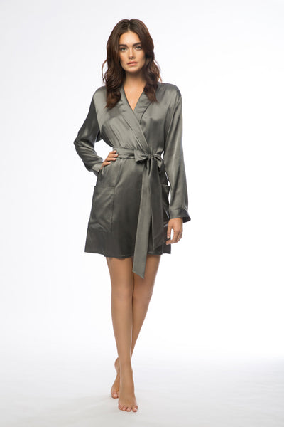 Sloane Charcoal Short Silk Robe