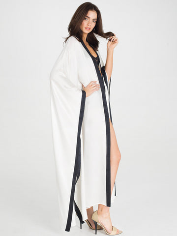 Sheba Long 100% Silk Snow Robe