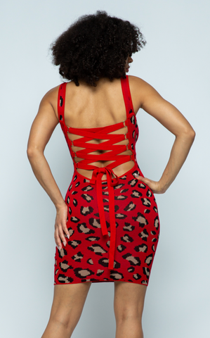 Red Leopard Jacquard Dress