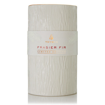 Thymes Frasier Fir Gilded Ceramic Pillar Candle