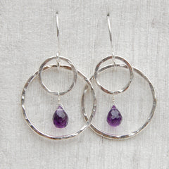 Hammered circles and Amethyst earrings