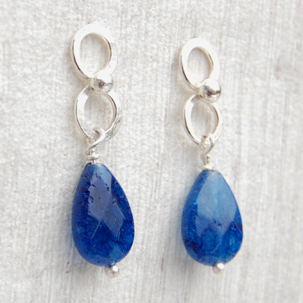 Blue Jade and circle stud drop earrings