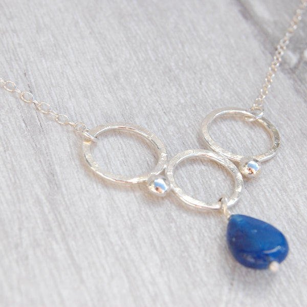 Blue Jade and silver circles necklace