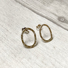 Silver circle and dot oval studs