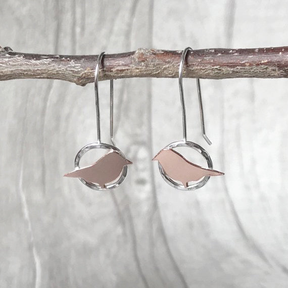 Copper bird on silver circle drop earrings
