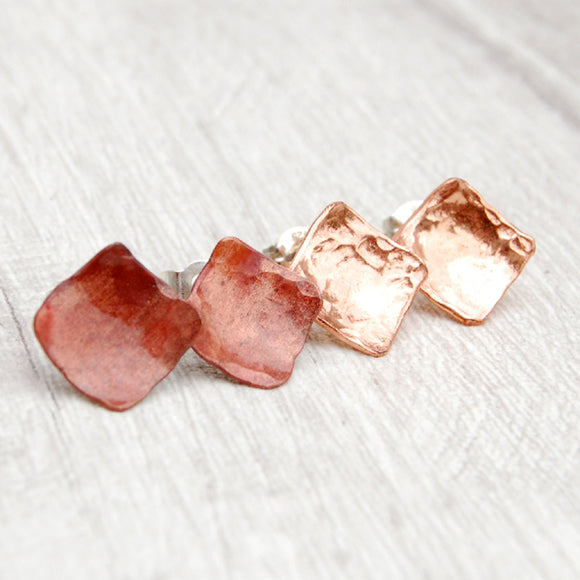 Copper diamond shaped stud earrings