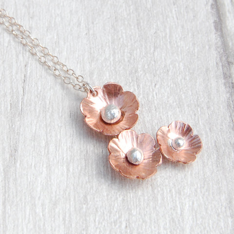 Copper flower drop necklace