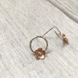 Copper flowers on silver circle studs