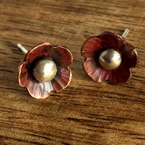 Copper flower studs - heat colour finish