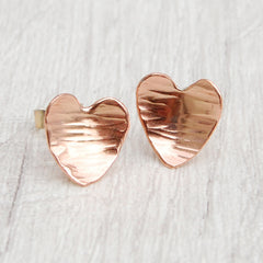 Copper heart studs