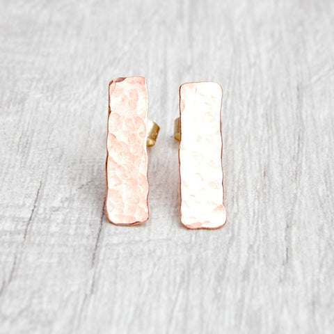 Long hammered copper stud earring