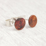 Tiny copper circle stud earrings