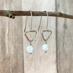 Frosted Crackle Clear Quartz Triangle Hook Earrings