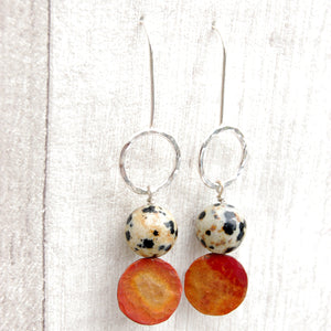 Dalmation Jasper stone with silver and copper circle earrings