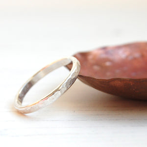 Hammered slim sterling silver ring