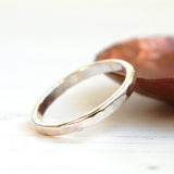 Flat hammered texture silver stacking ring half round band