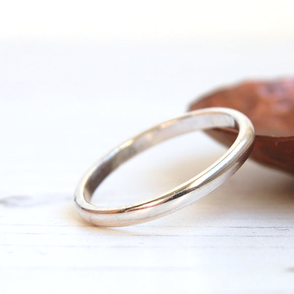 Smooth and shiny slim sterling silver stacking ring