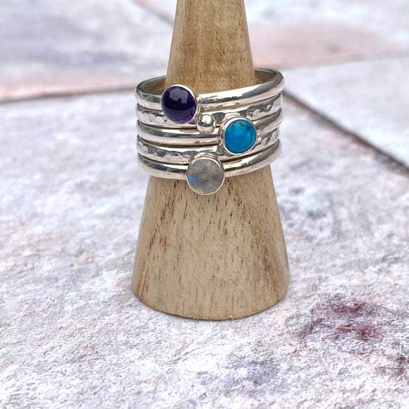 Stack of five rings - Amethyst, Labradorite, Turquoise