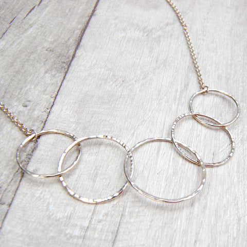 Hammered Five Circles Necklace