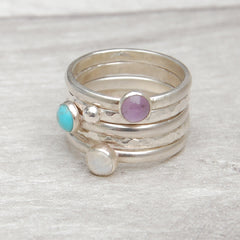 Stack of five rings - Lavender Amethyst, Turquoise, Moonstone