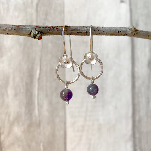 Amethyst and Silver Flower Earrings
