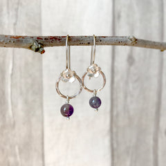 Amethyst, Silver Flower and Silver Hook Earrings