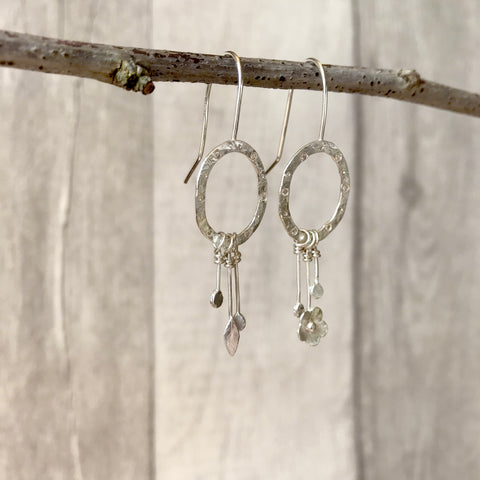 Silver Flower and Leaf asymmetrical dangle earrings