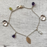 Flower and semi precious stone charm bracelet