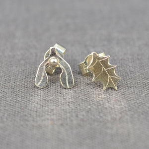 Silver Holly and Mistletoe studs