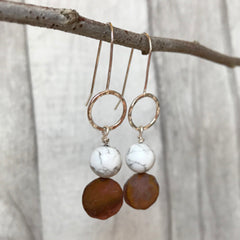 Howlite stone with silver and copper circle earrings