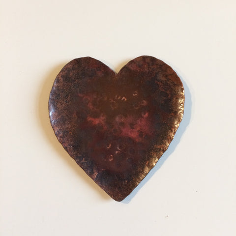 Copper heart shape ring and coin dish