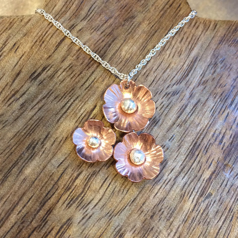 Copper flower cluster necklace