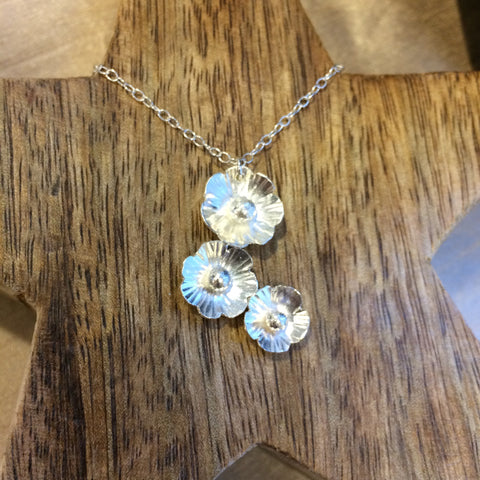 Silver flower drop necklace