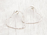 Large hammered heart studs