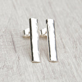 Long hammered sterling silver stud earring