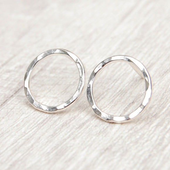 Sterling silver hammered circle studs