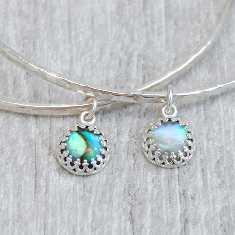 Paua shell charm bangle
