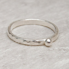 Skinny hammered pebble stacking sterling silver ring