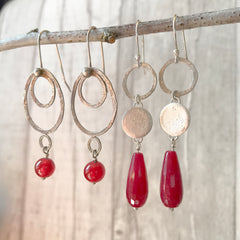 Red Carnelian and Hammered Dark Silver Circle Hook Earrings