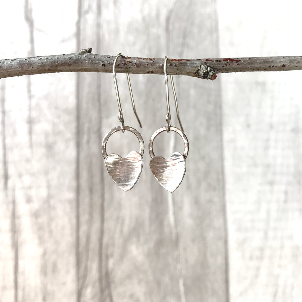 Silver heart and hammered silver circle earrings