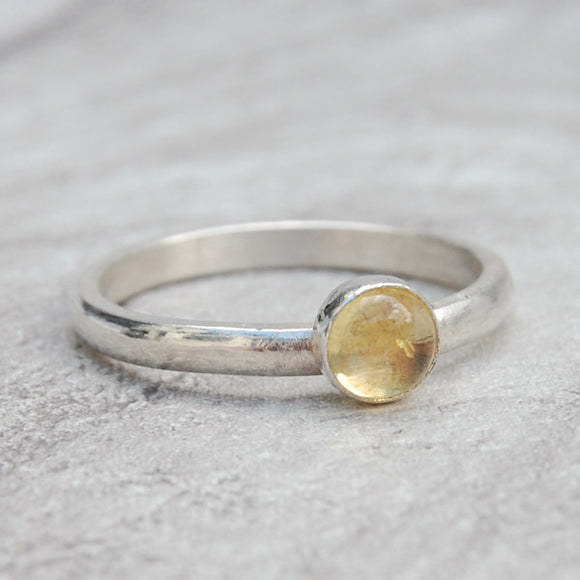 Citrine single stone ring