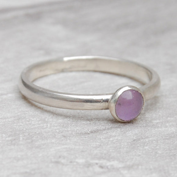 Lavender Amethyst single stone ring
