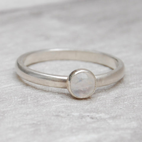 Moonstone single stone ring