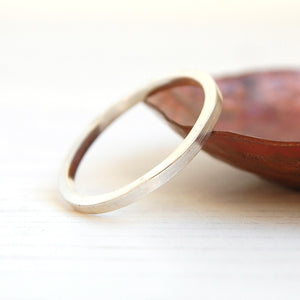 Silver smooth texture stacking ring