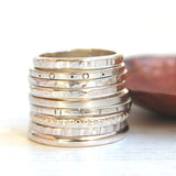 Silver round textured hammered stacking ring