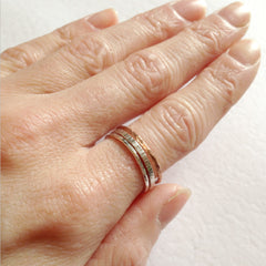 Skinny hammered copper ring